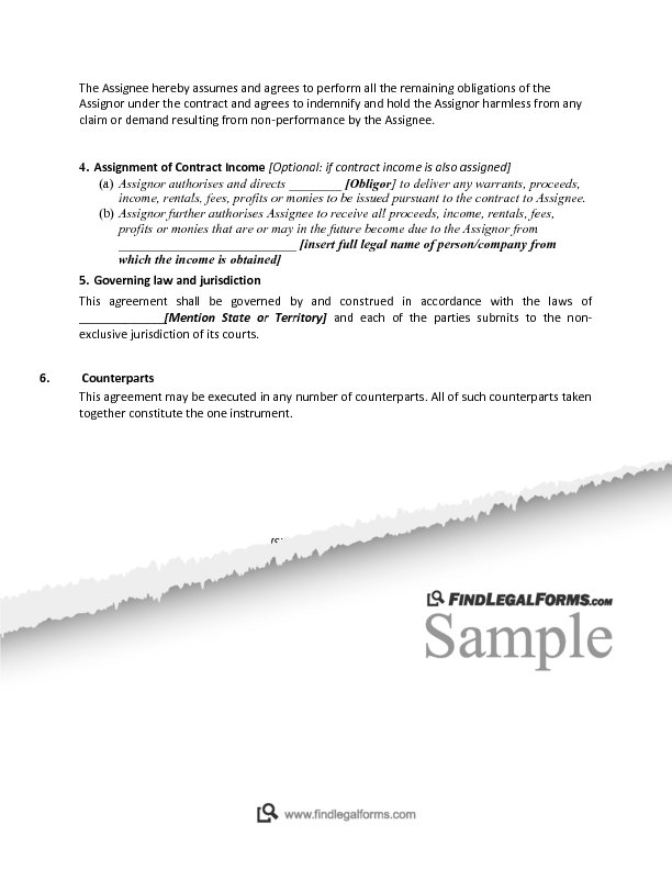 Assignment Of Contract Sample